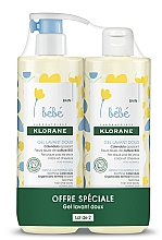 Profumi e cosmetici Set - Klorane Bebe Gentle Cleansing Gel (sh/gel/500ml + sh/gel/500ml)