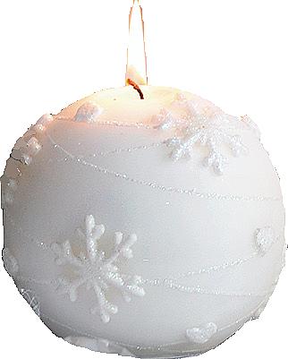 Candela decorativa, palla bianca, 10 cm - Artman Snowflake Application — foto N1