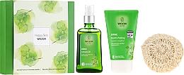 Profumi e cosmetici Set - Weleda Happy Skin (b/peel/150ml + b/oil/100ml + sh/sponge)