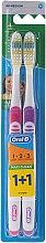 Profumi e cosmetici Set spazzolini da denti (medio, viola + rosa) - Oral-B 1 2 3 Maxi Clean 40 Medium 1+1