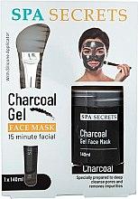 Profumi e cosmetici Set - Spa Secrets Charcoal Gel Face Mask (mask/140ml + brush/mask/1pcs)