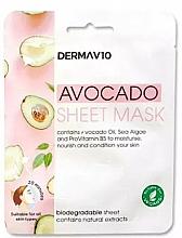 Profumi e cosmetici Maschera viso in tessuto - Derma V10 Avocado Sheet Mask