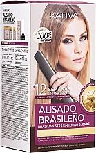 Profumi e cosmetici Set per capelli, lisciante alla cheratina, per bionde - Kativa Alisado Brasileno Straighten Blonde (shm/15ml + mask/150ml + shm/30ml + cond/30ml)