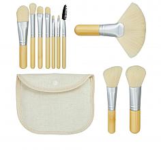 """Profumi e cosmetici Set pennelli trucco """"Bamboo White"""" 10pz + borsetta - Tools For Beauty"""