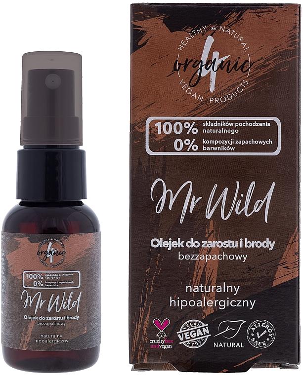 Olio per capelli e barba, inodore, ipoallergenico - 4Organic Mr Wild