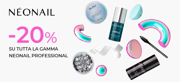 Sconto del 20% su tutta la gamma NeoNail Professional. I prezzi sul nostro sito comprendono gli sconti
