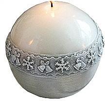 Profumi e cosmetici Candela decorativa, palla, bianca, 8 cm - Artman Christmas Time