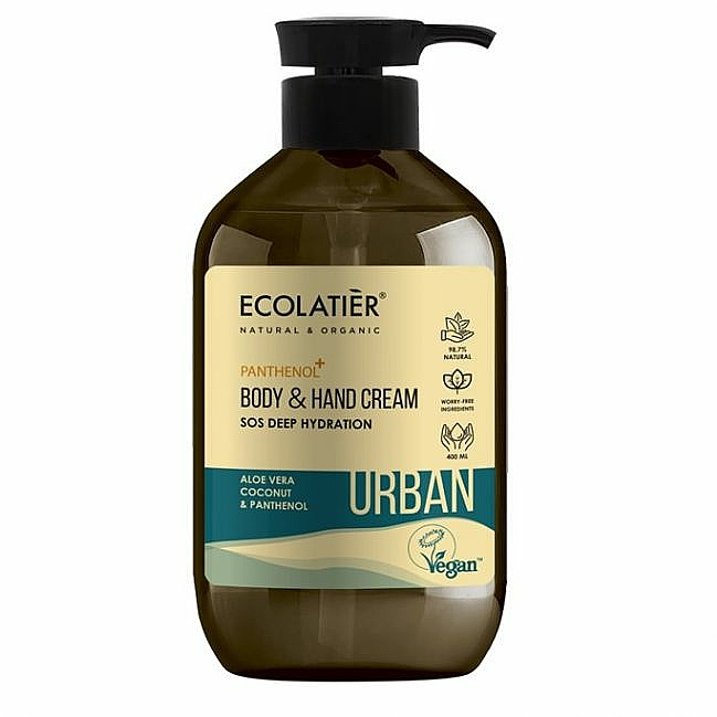 """Crema mani e corpo """"SOS Idratazione profonda. Aloe vera, cocco e pantenolo"""" - Ecolatier Urban Moisturizing Body & Hand Cream"""