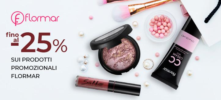 Sconti fino al -25% sui prodotti promozionali Flormar. I prezzi sul nostro sito comprendono gli sconti