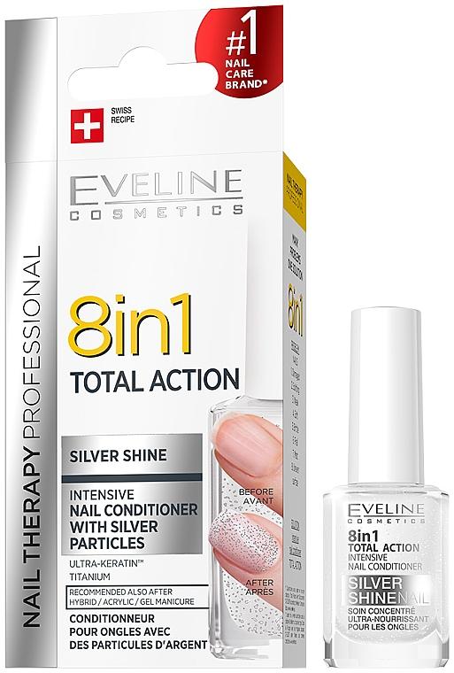 Smalto unghie multifunzionale 8in1 - Eveline Cosmetics 8in1 Silver Shine Nail Therapy