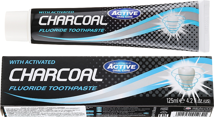 Dentifricio al carbone attivo - Beauty Formulas Charcoal Activated Fluoride Toothpaste