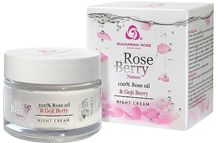 Crema viso con olio di rosa e bacche di goji da notte - Bulgarian Rose Rose Berry Nature Night Cream