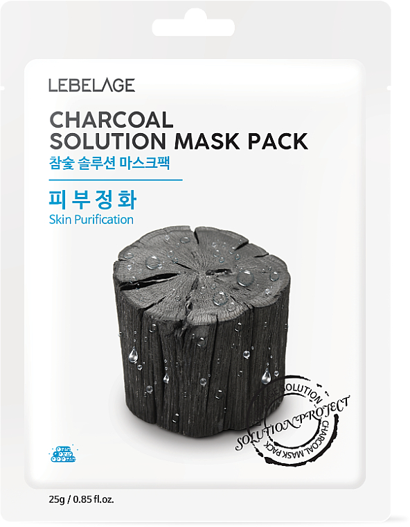 "Maschera viso in tessuto ""Carbone di legno"" - Lebelage Charcoal Solution Mask"