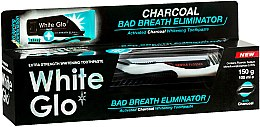 """Profumi e cosmetici Set """"Alito fresco"""" con spazzolino nero-bianco - White Glo Charcoal Bad Breath Eliminator (t/paste/100ml + t/brush/1)"""