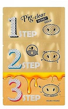 Set per la pulizia dei pori - Holika Holika Pig Nose Clear Black Head 3-Step Kit Honey Gold