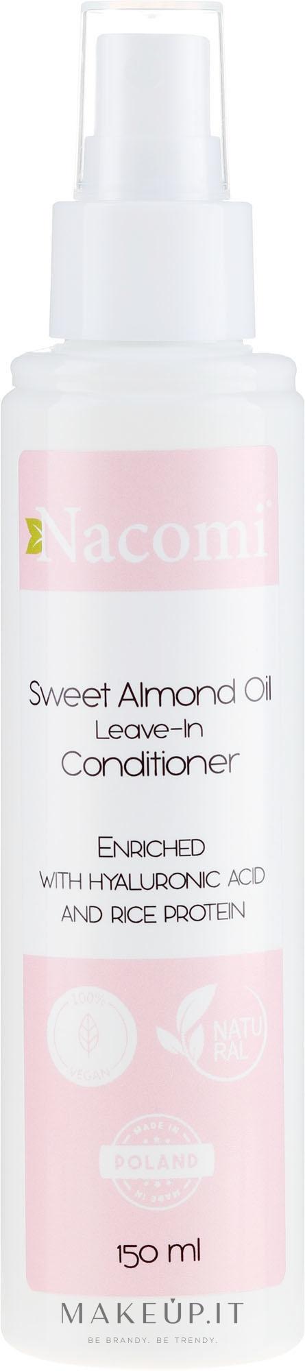 Condizionante per capelli con olio di mandorle, senza risciacquo - Nacomi No-Rinse With Sweet Almond & Hyaluronic Acid Conditioner — foto 150 ml
