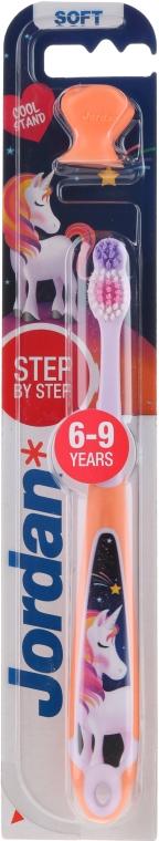 Spazzolino da denti per bambini Step 3 (6-9) morbido, con elastico, pesca-viola con unicorno - Jordan — foto N1