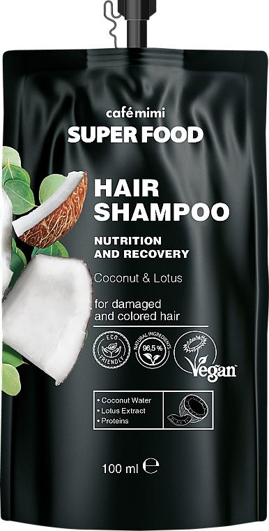 """Shampoo per capelli danneggiati e colorati """"Cocco e Loto"""" - Cafe Mimi Super Food Shampoo"""