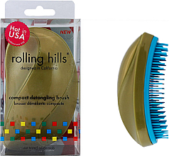 Profumi e cosmetici Spazzola compatta per capelli, oro - Rolling Hills Compact Detangling Brush Gold