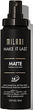 Profumi e cosmetici Spray-primer viso - Milani Make It Last Matte Charcoal Setting Spray