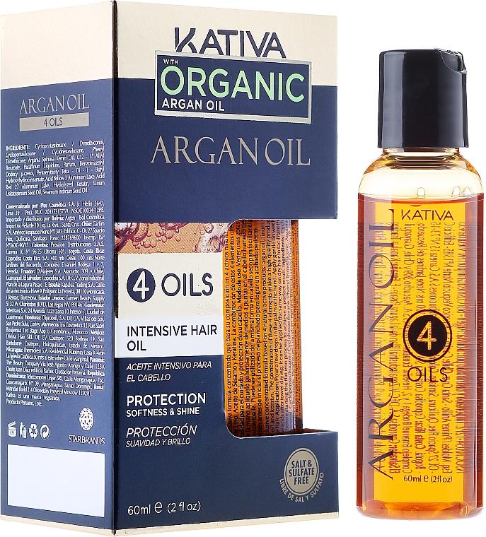 """Concentrato rigenerante e protettivo per capelli """"4 oli"""" - Kativa Argan Oil — foto N1"""