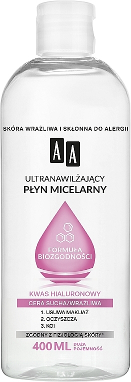 Acqua micellare ultra idratante per pelli secche e sensibili - AA Ultra Moisturizing Micellar Water
