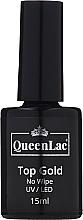 Profumi e cosmetici Top per smalto gel - QueenLac Top Gold No Wipe UV/LED