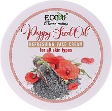 Profumi e cosmetici Crema viso rinfrescante con olio di semi di papavero per tutti i tipi di pelle - Eco U Poppy Seed Oil Refreshing Face Cream For All Skin Type