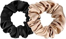 "Profumi e cosmetici Set elastici in seta naturale ""Midi"" - Makeup Scrunchie Set Black Gold"