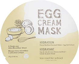 Profumi e cosmetici Maschera viso in tessuto idratante con estratto d'uovo - Too Cool For School Egg Cream Mask Hydration