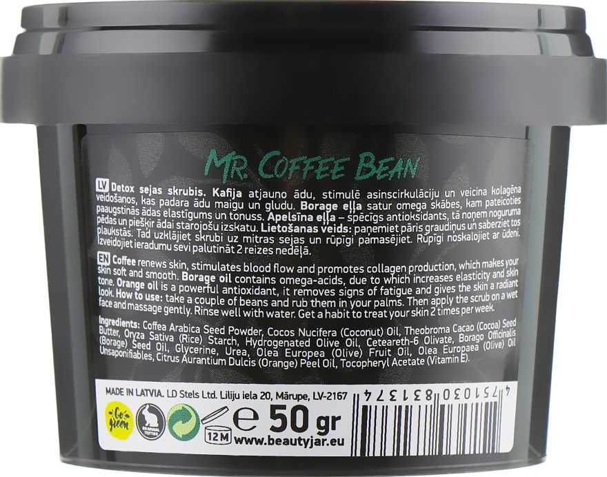 "Scrub viso disintossicante ""Mr. Coffee Bean"" - Beauty Jar Detoxifying Face Scrub — foto N3"