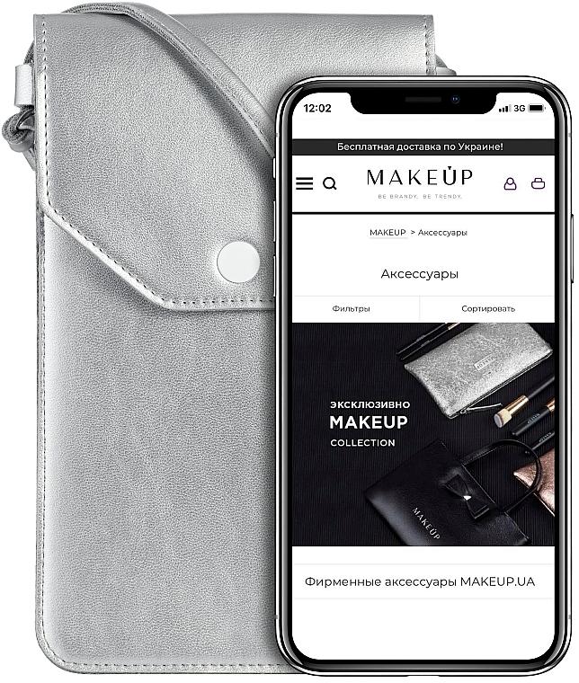 """Custodia per telefono con tracolla, argentata """"Cross"""" - Makeup Phone Case Crossbody Silver"""