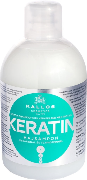 Shampoo con cheratina e proteine del latte - Kallos Cosmetics Keratin Shampoo — foto N1