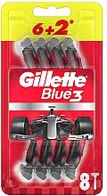 Profumi e cosmetici Set di rasoi usa e getta, 6 + 2 pezzi - Gillette Blue3 Nitro