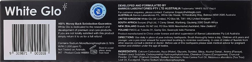 """Set """"Alito fresco"""" con spazzolino nero-blu - White Glo Charcoal Bad Breath Eliminator (t/paste/100ml + t/brush/1) — foto N2"""