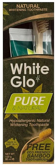"""Set """"Pulizia naturale"""" con spazzolino di bambù - White Glo Pure & Natural (t/paste/85ml + t/brush/1) — foto N1"""