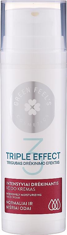 Crema intensamente idratante per pelli da normali a miste con estratti di cetriolo e aloe - Green Feel's Triple Effect Intensively Moisturizing Face Cream