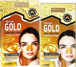 Profumi e cosmetici Strisce detergenti per il naso - Beauty Formulas Purifying Gold Nose Pore Strips