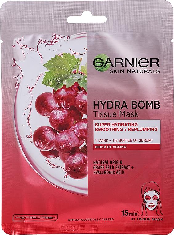 "Maschera in tessuto ""Idratante + Levigante"" - Garnier Skin Naturals Hydra Bomb"