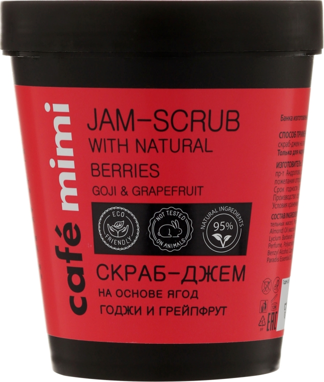 "Scrub-Marmellata per corpo ""Goji e pompelmo"" - Cafe Mimi Jam-Scrub With Natural Berries"