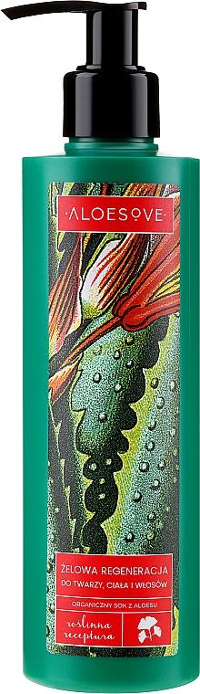 Gel viso corpo e capelli rigenerante con succo di aloe biologico - Aloesove