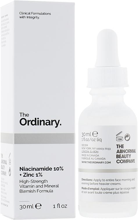 Siero viso con zinco e niacinamide - The Ordinary Niacinamide 10% + Zinc PCA 1%