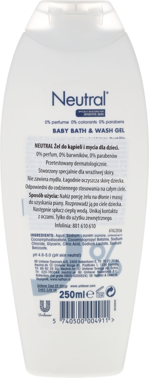 Gel da bagno per bambini - Neutral Baby Bath & Wash Gel — foto N2