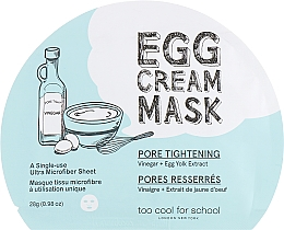 Profumi e cosmetici Maschera in tessuto con albume d'uovo - Too Cool For School Egg Cream Mask Pore Tightening