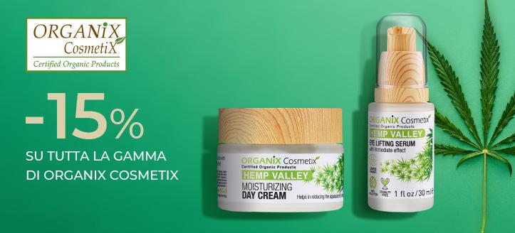 Sconto di 15% su tutta la gamma Organix Cosmetix. I prezzi sul nostro sito comprendono gli sconti
