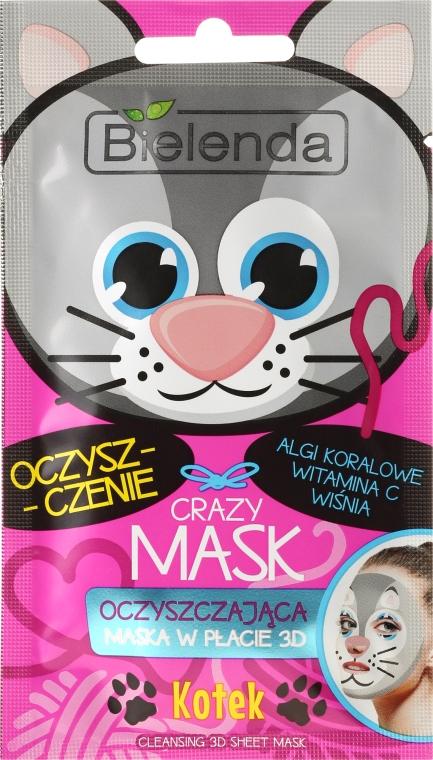 Maschera in tessuto disintossicante - Bielenda Crazy Mask 3D Cat