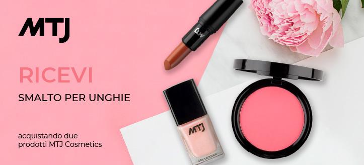 Acquistando due prodotti MTJ Cosmetics, ricevi in regalo uno smalto per unghie