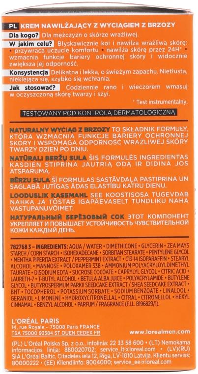 Crema viso idratante con estratto di betulla per pelli sensibili, uomo 25+ - L'Oréal Paris Men Expert Hydra Sensitive 25+ — foto N3