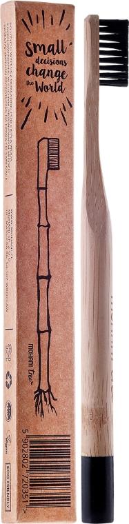 Spazzolino da dent in bambù, durezza media, con setole nere - Mohani Toothbrush