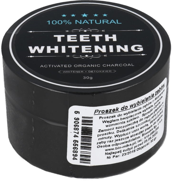Polvere sbiancante per i denti con carbone attivo - Biomika Natural Teeth Powder
